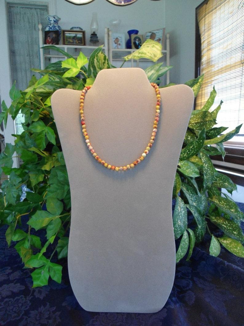 70s Style Long Stone Necklace Stone Beads Men Woman Yellow Sea Sediment JasperSale Beaded Necklace Bohemian Boho Necklace