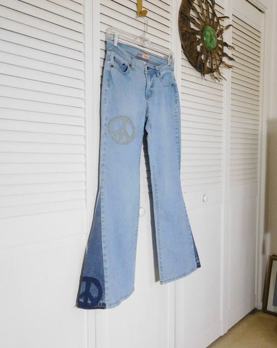 Bell Patchwork Rise Size Upcycled Bottom Peace Hippie Patch Low Hugger Jeans 4 SALE Patched Sign Petite Hip 5HwOnx8q