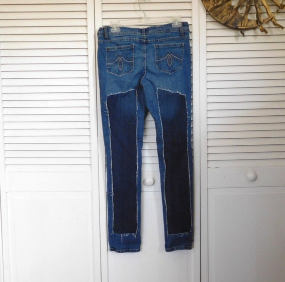 Clothing Rip Clothes tight Two Rise Boho Straight Size Upcycled Leg Skinny Jeans Leg Jeans Leg Low Denim Patch Patchwork Tone 11 q7xw8X4X
