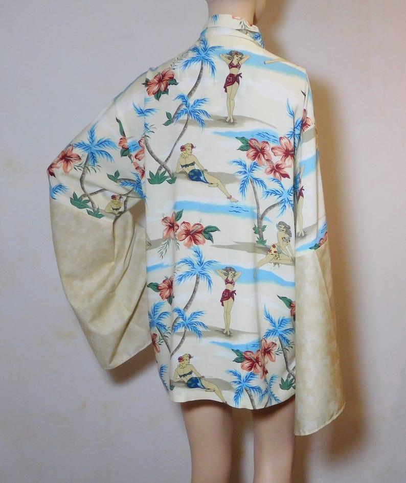 cbcd2362 Bell Sleeve Plus Size Hawaiian Shirt Mens Medium Upcycled Big | Etsy