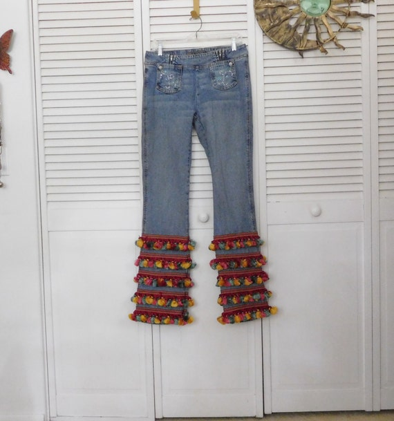 735b743e611 Tassel Fringe Bell Bottom Jeans Size 6 Festival Band Clothing