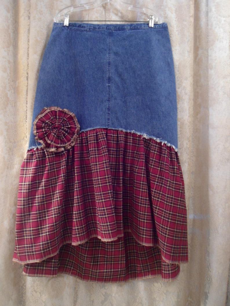 e076bef260 Plus Size 16 Jean Skirt Upcycled Clothing Ruffle Skirt   Etsy