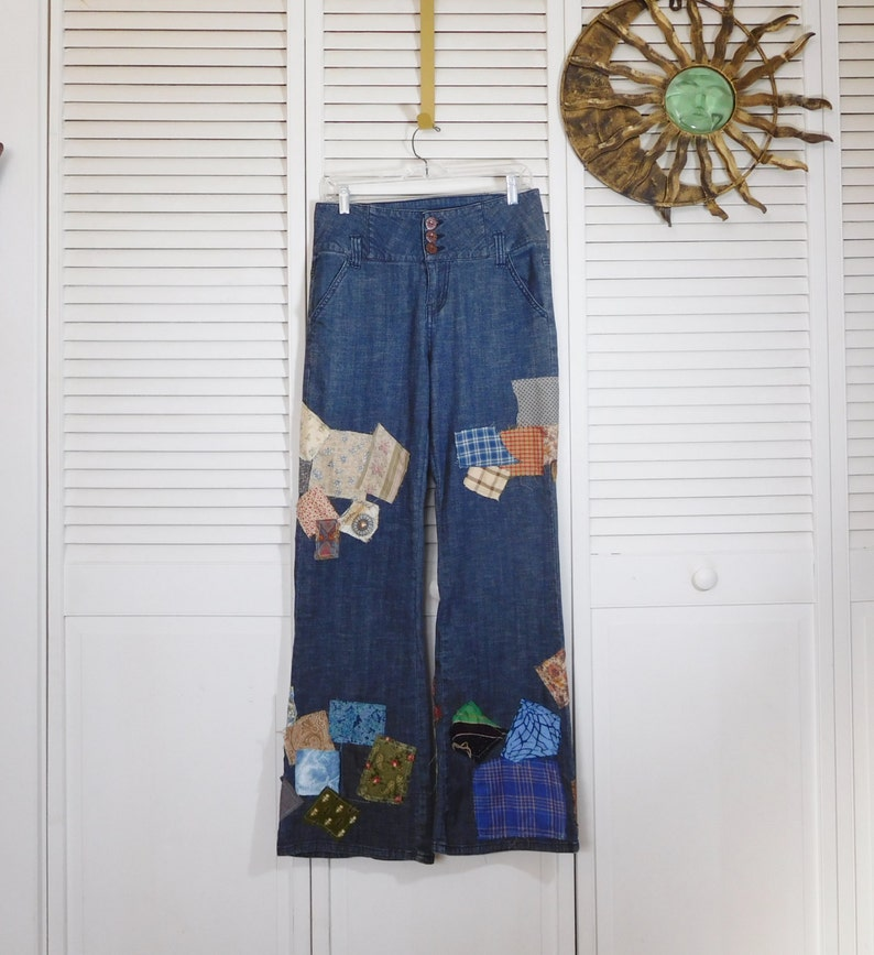 ff0321a023b Hippie Bell Bottom Patchwork Jeans Size 10 11 Upcycled High