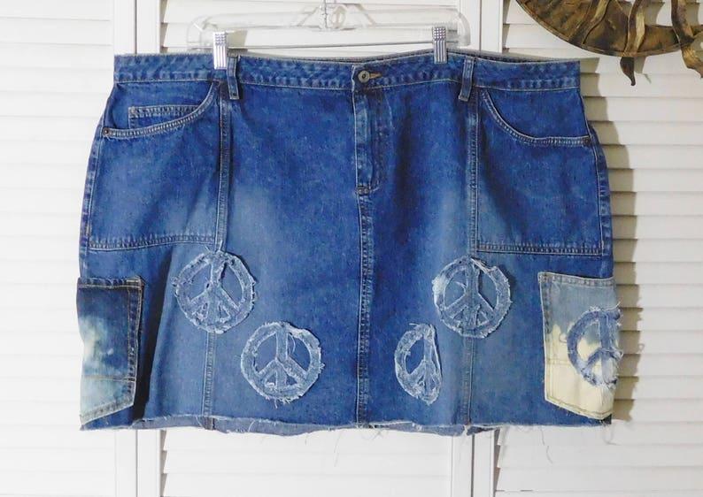 e7232a88004 Hippie Jean Skirt Denim Plus Size 28 Jean Skirt 50 inch