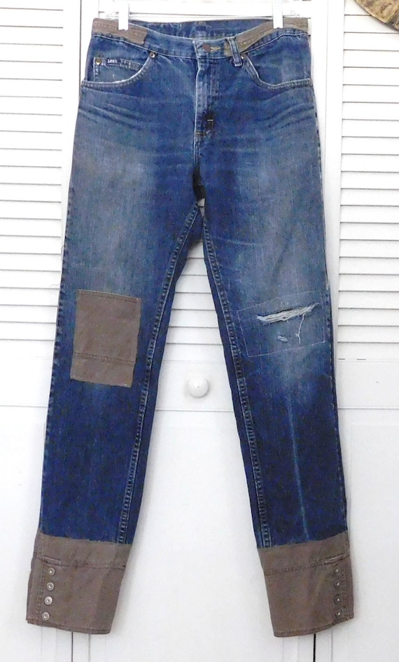 Grunge Bohemian Mens 35 Hippie Dark Straight Blue Patchwork Retro Leg Industrial Button Jeans Upcycled x Denim Boho 32 Pants Patched Cuff q0YBqw