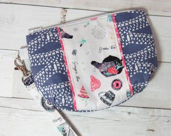 Wristlet / Clutch / Purse w/Detachable Wrist Strap in Art Gallery Wonderland Fabric - Floral, Alice, Tea Party, Tea Pot, Tea Bag, Blue, Pink