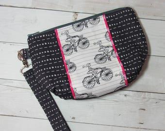 Wristlet / Clutch / Purse w/ Detachable Wrist Strap in Art Gallery Cherie Fabric - Bicycle, Girl, Biking, Credit Card Pockets, Polka Dots