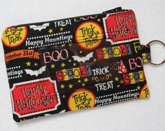 halloween trick or treat keychain id wallet w split ring student teacher work id badge holder zip pouch lanyard style