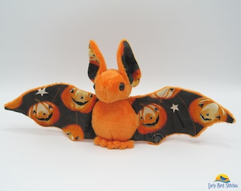 Mini Plush Bat, Orange Minky and Halloween Jack o' Lantern / Pumpkin Fabric for Accents for Wings and Ears  - Not Intended for Children!