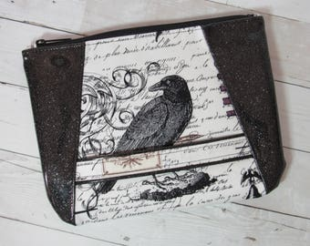Wristlet / Clutch / Purse in Edgar Allan Poe / Nevermore / Raven Fabric & Glitter Vinyl; Halloween, Poetry, Script, Writing, Pen, Black Bird