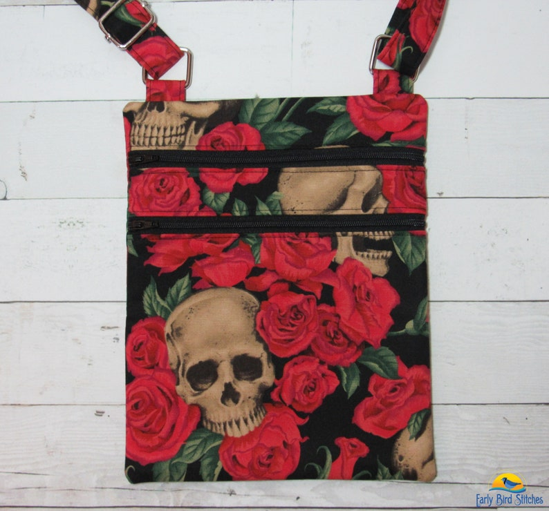 Skulls & Red Roses Double Zip Small Cross Body Purse with image 0