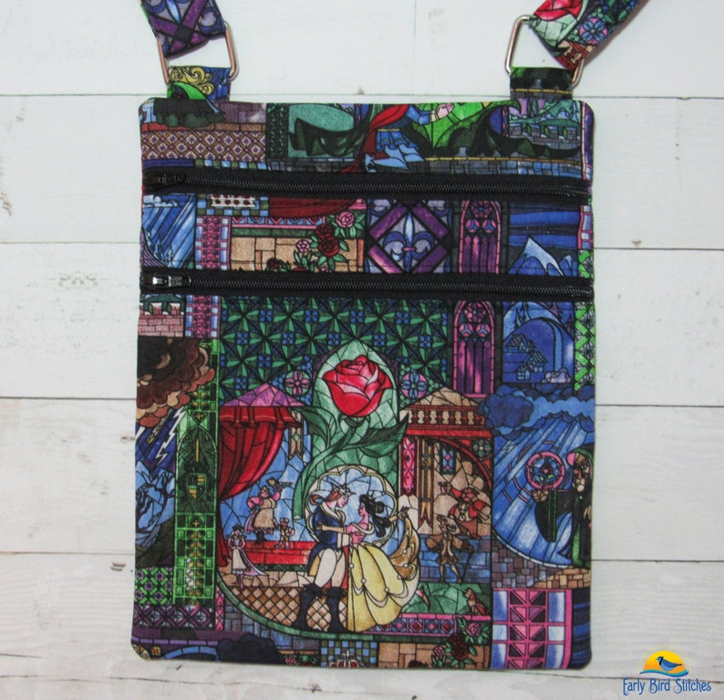 Beauty & the Beast Double Zip Small Cross Body Purse with image 0