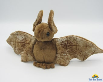 Mini Plush Bat, Brown Minky & Steampunk Unknown Voyage Map for Wings and Ears - Not Intended for Children!