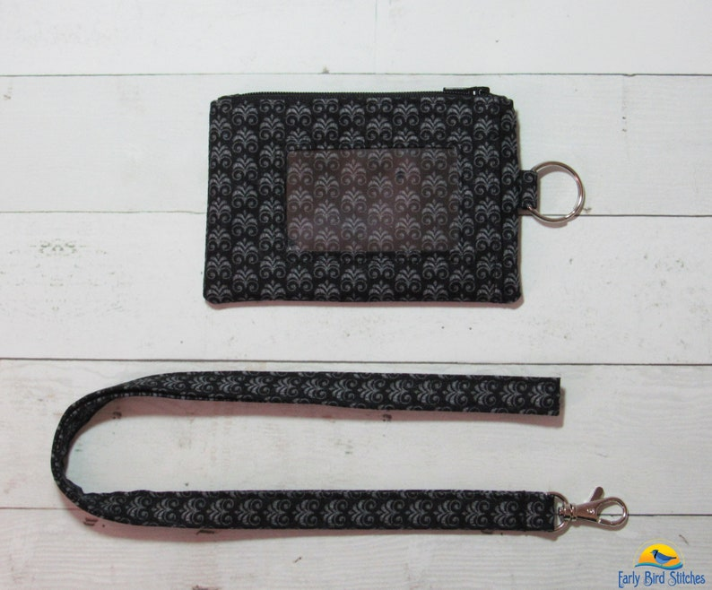 Black and Gray Scroll Keychain ID Wallet & Lanyard / Neck image 0