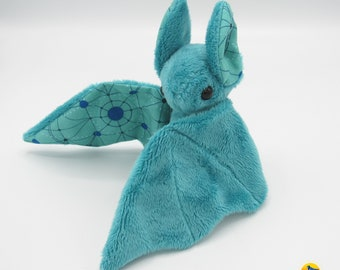 Mini Plush Bat, Dark Teal Minky & Abstract Mandala Print for Accents for Wings and Ears - Not Intended for Children!