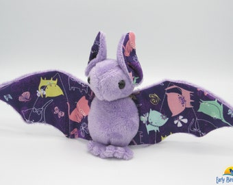 Mini Plush Bat, Lavender Minky & Cute Rainbow Kitty Cats for Accents for Wings and Ears - Not Intended for Children!