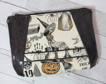 Wristlet / Clutch / Purse in Alexander Henry Halloween Fabric & Glitter Vinyl; Skeleton, Pumpkin, October, Skull, Spider, Poison, Witch