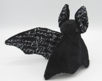 Mini Plush Bat, Black Minky and Black & White Script Handwriting Text for Accents for Wings and Ears  - Not Intended for Children!