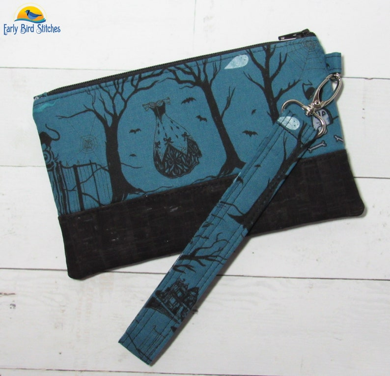 Wristlet / Purse in Beautiful Creepy Gothic Halloween print image 0