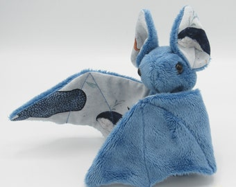 Mini Plush Bat, Blue Minky and Ocean / Sea / Whales / Octopus Fabric for Accents for Wings and Ears  - Not Intended for Children!