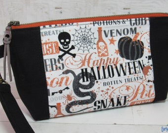 Black Canvas & Halloween Print with Metallic Accents Wristlet / Purse, Removable Wrist Strap, Credit Card Pockets Inside