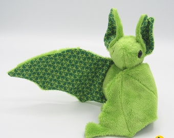 Zombie Mini Plush Bat #2, Green Minky and Biohazard Fabric for Accents for Wings and Ears  - Not Intended for Children!