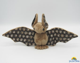 Mini Plush Bat, Brown Minky & Steampunk Typewriter Key Accents for Wings and Ears - Not Intended for Children!