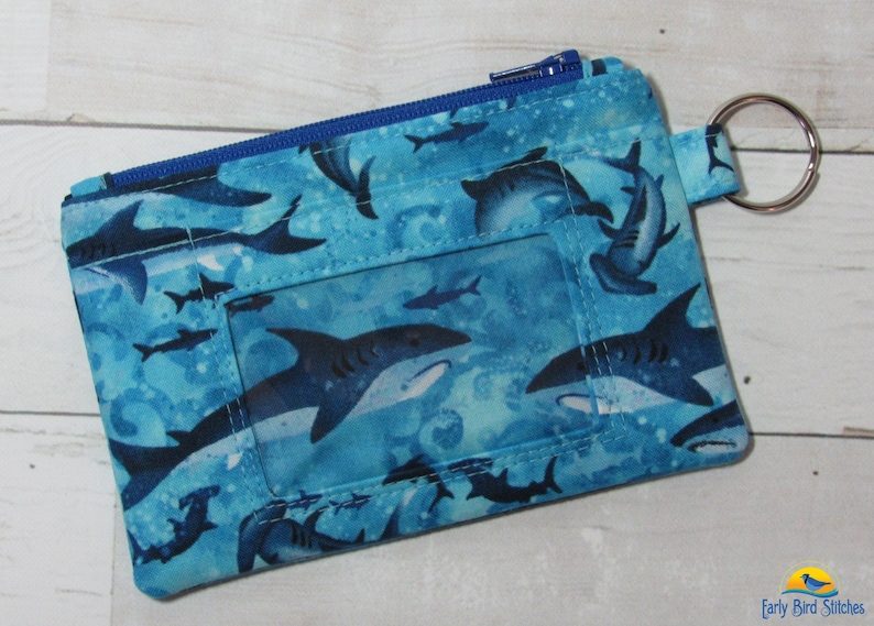 Shark Keychain ID Wallet with 2 Options for ID Pocket and Room Wallet Style