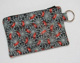 Last One! Spider Web / Halloween Keychain ID Wallet with Room for Coins, Cash, Credit Cards