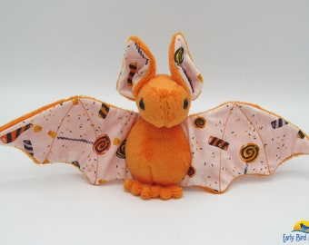Mini Plush Bat, Orange Minky and Halloween Candy / Trick or Treat Fabric for Accents for Wings and Ears  - Not Intended for Children!