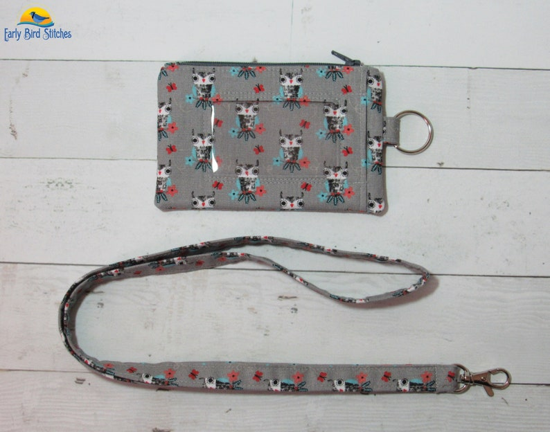 Gray Owls and Flowers Keychain ID Wallet & Lanyard / Neck image 0