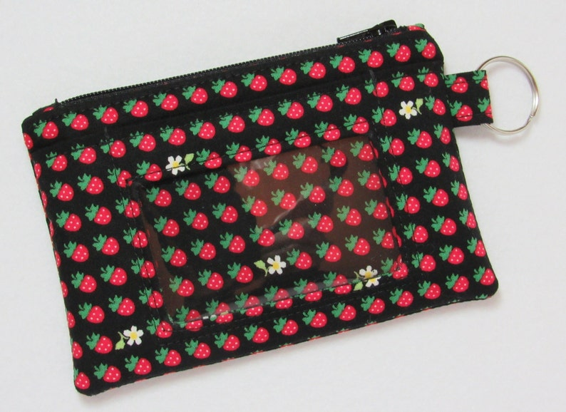 fb4e96f26f95 Black / Red Strawberry Keychain ID Wallet with 2 Options for ID Pocket and  Room for Coins, Cash, Credit Cards