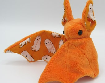 Mini Plush Bat, Orange Minky and Halloween Ghost Fabric for Accents for Wings and Ears  - Not Intended for Children!