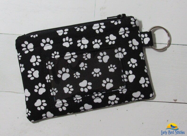 Pawprints Keychain ID Wallet with 2 Options for ID Pocket and Wallet Style
