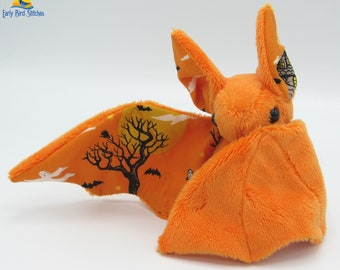 Mini Plush Bat, Orange Minky and Halloween / Trick or Treat Village Fabric for Accents for Wings and Ears  - Not Intended for Children!