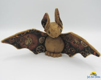 Mini Plush Bat, Brown Minky & Steampunk Gears Accents for Wings and Ears - Not Intended for Children!