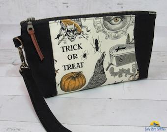 Black Canvas & Alexander Henry Halloween Print Wristlet / Purse, Removable Wrist Strap, Credit Card Pockets Inside