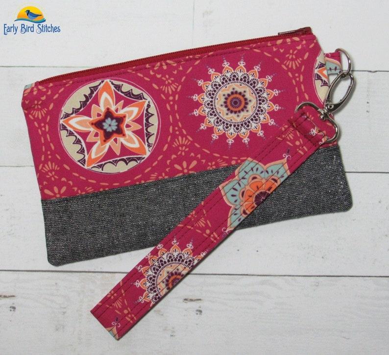 Wristlet / Purse in Beautiful Art Gallery Fabrics Mandala image 0