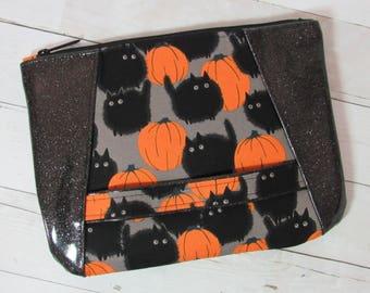 Wristlet / Clutch / Purse in Alexander Henry Halloween Cat Fabric & Glitter Vinyl