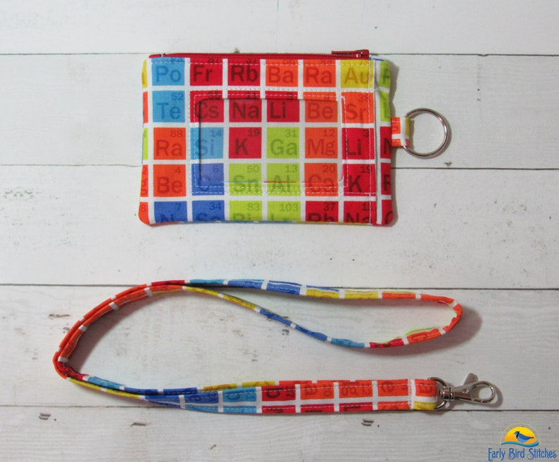Periodic Table Keychain ID Wallet & Lanyard / Neck Strap SET image 0