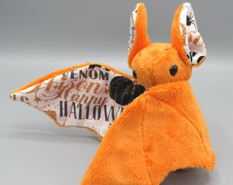 Mini Plush Bat, Orange Minky and Happy Halloween Fabric for Accents for Wings and Ears  - Not Intended for Children!