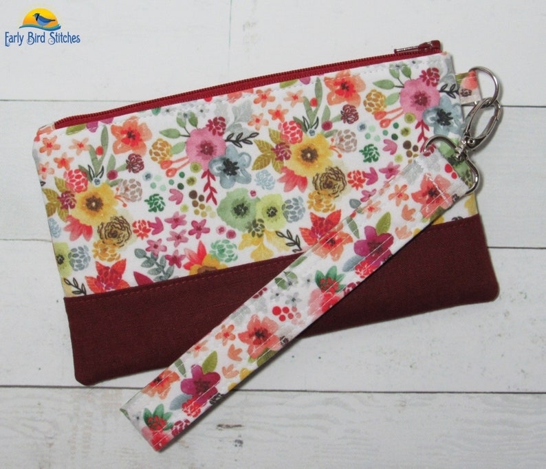 Wristlet / Purse in Beautiful Custom Printed Watercolor Floral image 0