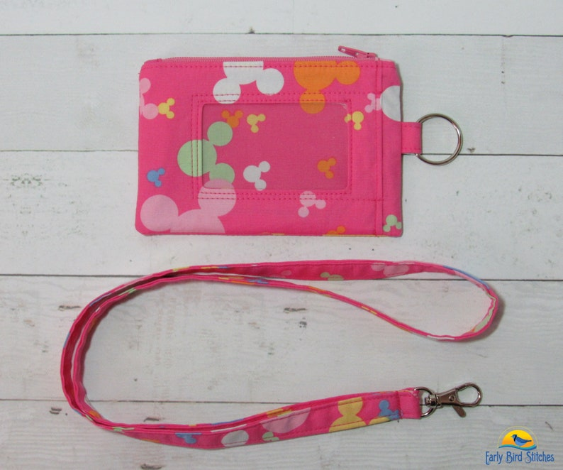 Mouse Heads Pink Keychain ID Wallet & Lanyard / Neck Strap image 0