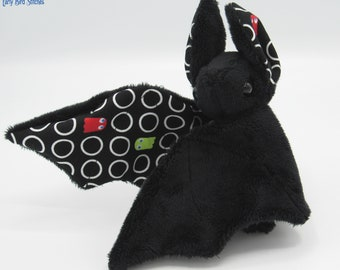 Mini Plush Bat, Black Minky & Arcade Ghosts on a Black Background for Accents for Wings and Ears  - Not Intended for Children!