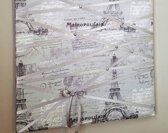 Paris, Memo board, photo board, vision board, fabric memo board, French memo board, notice board, memory board, bow holder, goal board