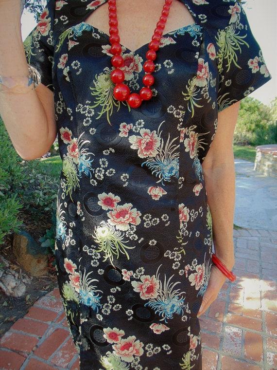 "Vintage ""Lip Service"" Mandarin Wiggle Dress"