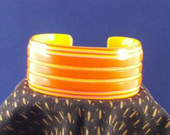 Vibrant Vintage Orange and Yellow Striped Cuff Bracelet. A touch of sunshine.