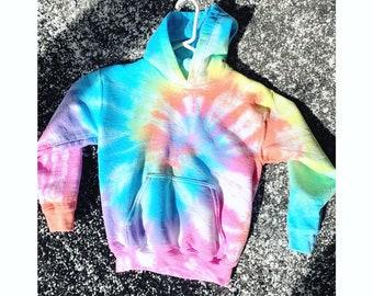 Girls Pastel Tie Dye Fleece Hoodie Zip Jacket
