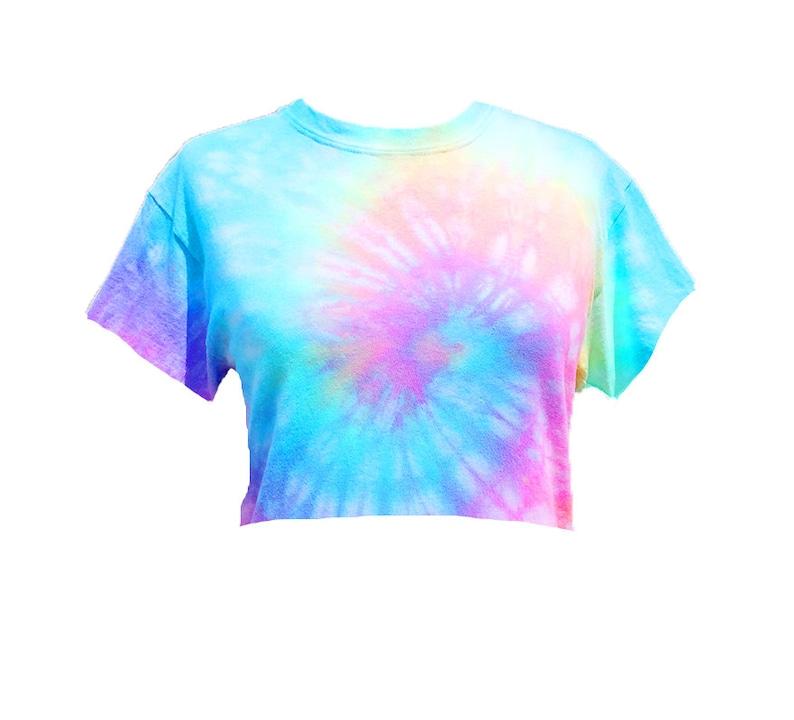 f480d7b335988 Tie Dye Crop Top - Tiedye cropped tshirt - Pastel Tie Dye - Pastel Rainbow  - Hand Dyed - Unicorn colors - Festival