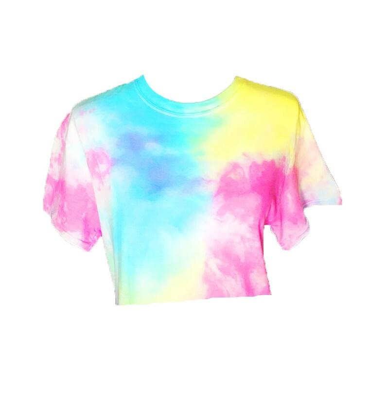 fe19267bec13e Pastel Splash Tie Dye Crop Top - Tiedye cropped tshirt - Pastel Tie Dye -  Pastel Rainbow - Hand Dyed - Mermaid - Unicorn colors - Festival